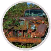 Round Beach Towel featuring the photograph Brown Mack Truck by Jerry Gammon