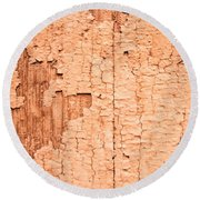 Brown Paint Texture Round Beach Towel by John Williams