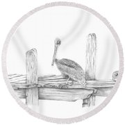 Brown Pelican Round Beach Towel by Patricia Hiltz