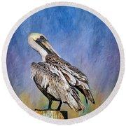 Brown Pelican - Preening Round Beach Towel