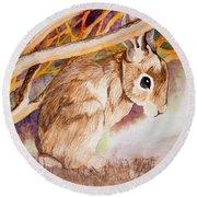 Brown Rabbit Round Beach Towel