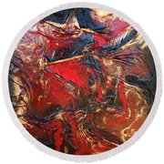Brown, Red And Gold Round Beach Towel