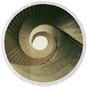 Round Beach Towel featuring the photograph Brown Spiral Stairs by Jaroslaw Blaminsky
