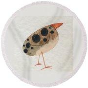 Brown Spotted Bird Round Beach Towel