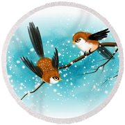 Round Beach Towel featuring the digital art Brown Swallows In Winter by John Wills