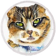 Brown Tabby Cat Watercolor Round Beach Towel