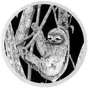 Brown-throated Three-toed Sloth Round Beach Towel