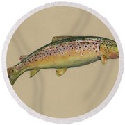 Brown Trout Jumping Round Beach Towel by Juan Bosco
