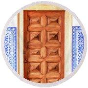 Brown Wood Door Of Old World Europe Round Beach Towel