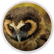 Brown Wood Owl Round Beach Towel