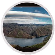 Round Beach Towel featuring the photograph Brownlee Triptych by Leland D Howard