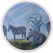Round Beach Towel featuring the painting Browsing Zebras by Anthony Mwangi
