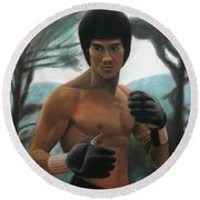 Bruce Lee - The Concentration  Round Beach Towel