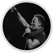Bruce Springsteen In Cleveland Round Beach Towel