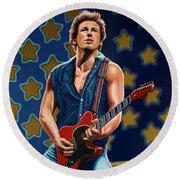 Bruce Springsteen The Boss Painting Round Beach Towel