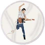Bruce Springsteen Typography Art Round Beach Towel