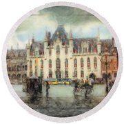 Round Beach Towel featuring the painting Bruges, Belgium by Chris Armytage