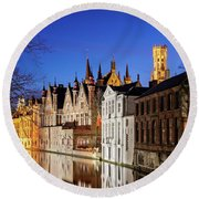 Round Beach Towel featuring the photograph Bruges Canal At Night by Barry O Carroll