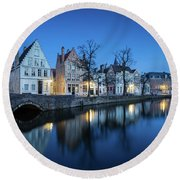Magical Brugge Round Beach Towel by JR Photography