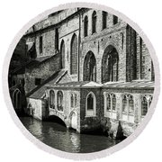Bruges Medieval Architecture Round Beach Towel