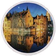 Brugge Round Beach Towel by JR Photography