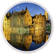 Brugge Twilight Round Beach Towel by JR Photography