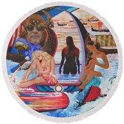 Blaa Kattproduksjoner     Two  Godessess Enjoying  The Nile Spa Round Beach Towel