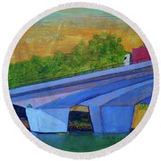 Brunswick River Bridge Round Beach Towel