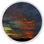 Round Beach Towel featuring the photograph Brunswick Sky Line by Laura Ragland