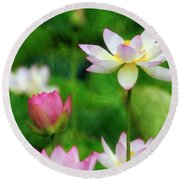 Round Beach Towel featuring the photograph Brushed Lotus by Edward Kreis