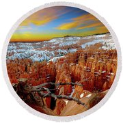 Round Beach Towel featuring the photograph Bryce Canyon Sunrise by Norman Hall