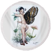 Bubble Butt Fairy Round Beach Towel