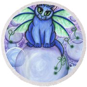 Bubble Fairy Cat Round Beach Towel