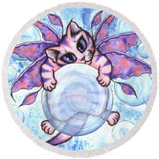 Bubble Fairy Kitten Round Beach Towel