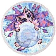 Bubble Fairy Kitten Round Beach Towel