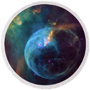 Round Beach Towel featuring the photograph Bubble Nebula by Marco Oliveira