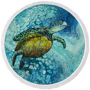 Round Beach Towel featuring the painting Bubble Surfer  by Darice Machel McGuire