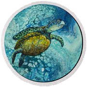 Round Beach Towel featuring the painting Bubble Surfer On Black by Darice Machel McGuire
