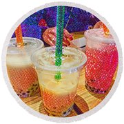 Bubble Tea For Three Round Beach Towel