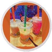 Bubble Tea For Three Round Beach Towel
