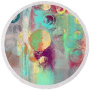 Round Beach Towel featuring the digital art Bubble Tree - 285r by Variance Collections