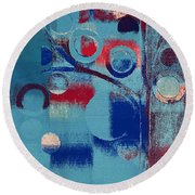 Round Beach Towel featuring the painting Bubble Tree - 85e-j4 by Variance Collections