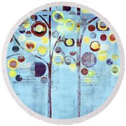 Bubble Tree Duo - 44bl01b Round Beach Towel