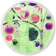 Round Beach Towel featuring the digital art Bubble Tree - 224c33j5l by Variance Collections