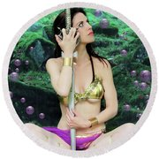 Bubbles And Sword Round Beach Towel