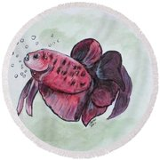 Bubbles, Betta Fish Round Beach Towel