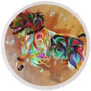 Bubbles  English Springer Round Beach Towel