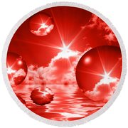 Round Beach Towel featuring the photograph Bubbles In The Sun - Red by Shane Bechler