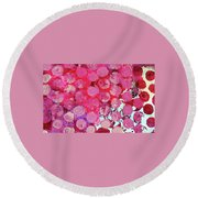 Round Beach Towel featuring the mixed media Bubbles by Mary Ellen Frazee
