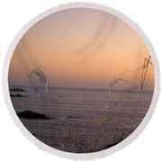 Bubbles On The Beach Round Beach Towel by Jim And Emily Bush